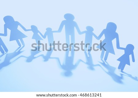 Family Paper Chain Cutout Holding Hands 468613241