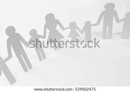 Family Paper Chain Cutout Holding Hands 529002475