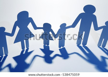 Family Paper Chain Cutout Holding Hands 538475059