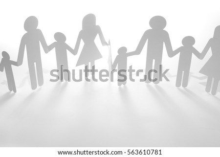 Family Paper Chain Cutout Holding Hands 563610781