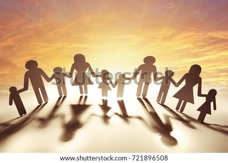 Free Photos Paper Doll Family Holding Hands