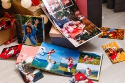 family photo album near the Christmas tree