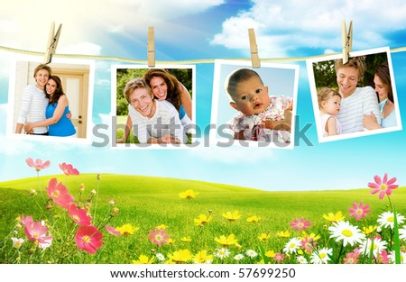 Family photos hanging over spring flowers