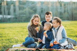Family picnic with apples on the green grass.