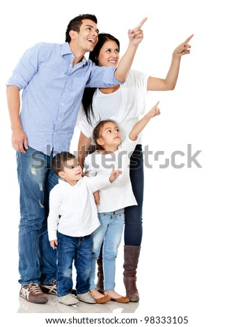 Family pointing with finger - isolated over a white background