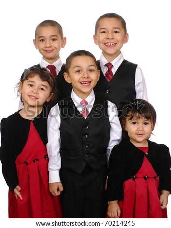 Family portrait, kids together, Hispanic, ages two, three, five, seven, and nine years, isolated on pure white background