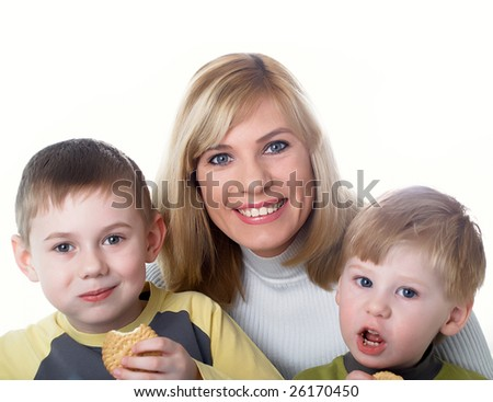 Family portrait mum with two sons