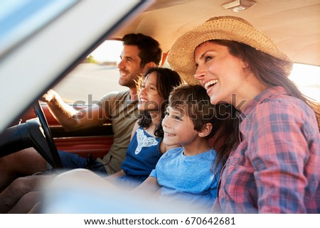 Family Relaxing In Car During Road Trip #670642681