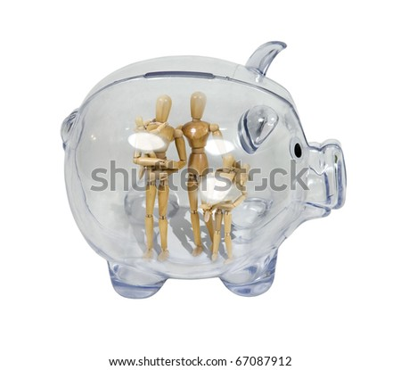 Family savings shown by a piggy bank in profile with a family inside - path included