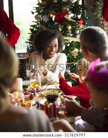 Family Together Christmas Celebration Concept #517619797