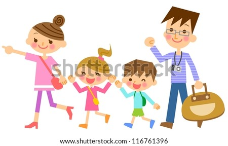Family travel - stock photo