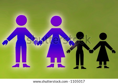 family unit with children in shadow