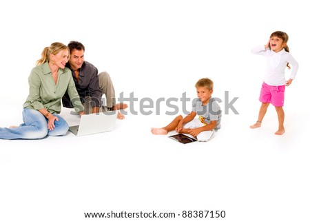 family using digital tablet laptop and mobile
