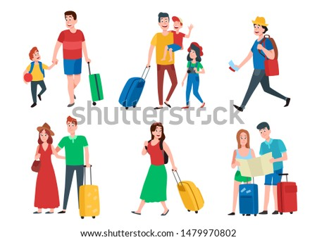 Family vacation. Happy tourist holiday vacations, travel couple and tourists group. Travelling leisure, family vacation or traveler character activity. Cartoon  isolated icons set