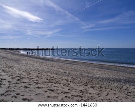 Family waking af walk at the north-sea coast, Jutland, Denmark