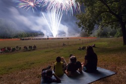 Family watching fireworks display.