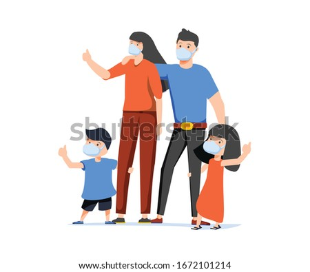 Family wearing protective Medical mask for prevent virus Covid19. Dad, Mom, Daughter and Son wearing a surgical mask. Healthcare, life protection. Coronavirus danger. Quarantine zone, epidemy