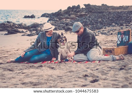 family with a border collie dog doing pic nic activity on the beach in vacation, summer lifestyle with friends concept. old style and vintage filter