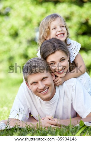 Family with a child outdoors