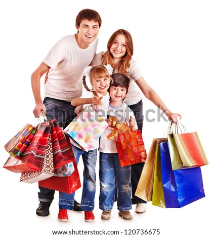 Family with children holding shopping bag. Isolated.