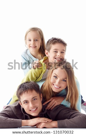 ShutterStock Family with children on a white background 131070032