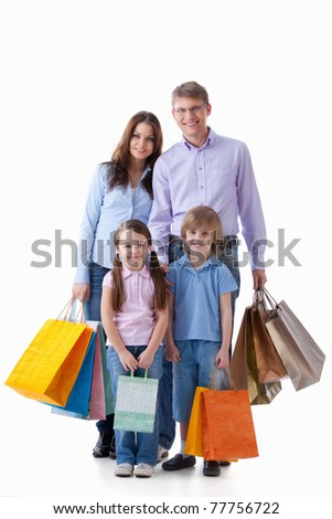 Family with shopping bags on a white background