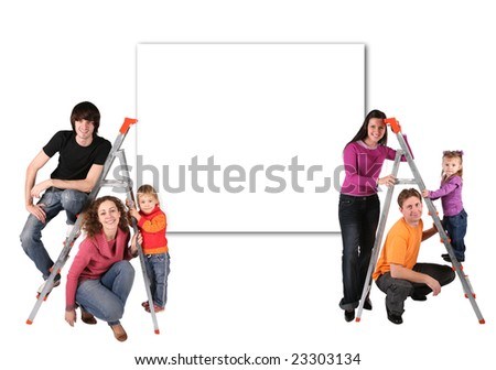 family with steps and wall for text collage - stock photo