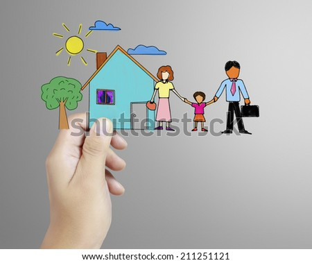 family with the protection of cupped hands, concept for security and care