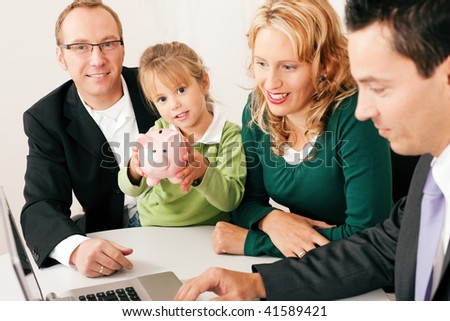 Family with their consultant (assets, money or similar) doing some financial planning - symbolized by a piggy bank the daughter is holding in her hand
