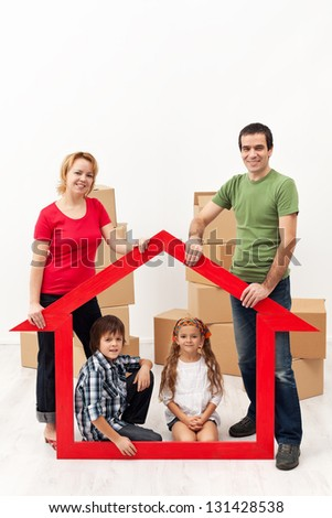 Family with two kids buying a new home concept