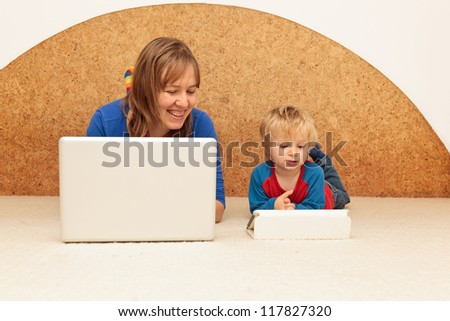family working from home