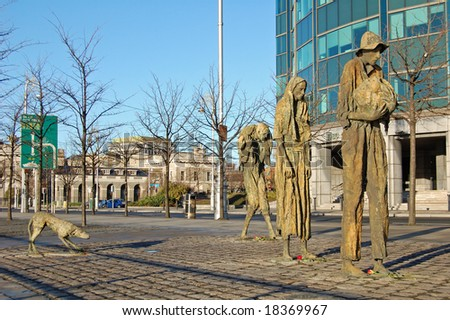 Famine statues on the North bank of the River Liffey in Dublin, Ireland. Editorial Only