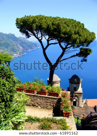 Famous Amalfi Coast view from the cliffside town of Ravello, Italy
