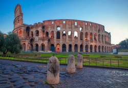 Famous ancient construction Colosseum with no people around
