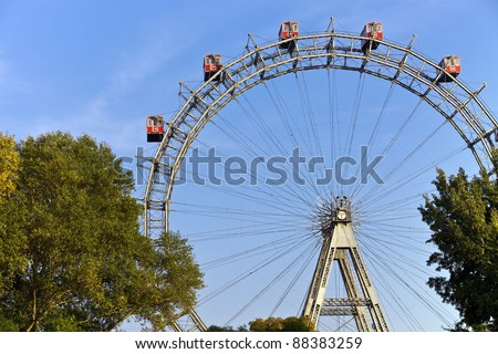 Famous and historic Ferris Wheel of vienna prater park called Wurstelprater