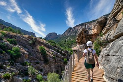 Famous and well-known path, Royal Trail (El Caminito del Rey), situated in Ardales, province of Malaga, Spain. Also known as the Gaitanes Gorge.