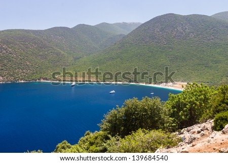 Famous Antisamos beach on Kefalonia island, Greece