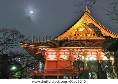 famous Asakusa Temple by night in Tokyo, Japan