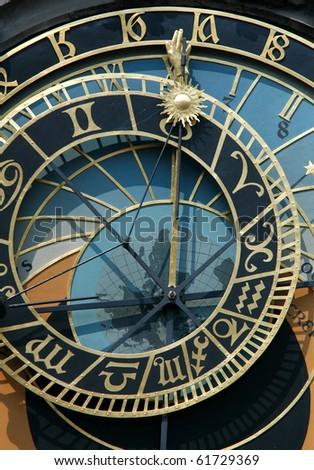 Famous astronomical clock in Prague, Czech Republic - stock photo
