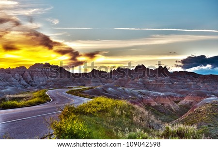 Famous Badlands Loop Road in Badlands National Park, South Dakota, U.S.A. Badlands Loop Road HDR Photography