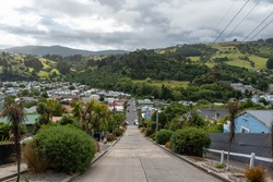 Famous Baldwin street in Dunedin, the steepest street in the world, South Island of New Zealand