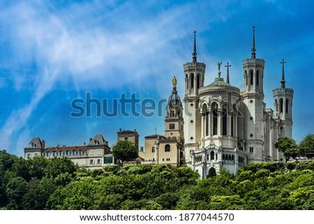 famous basilica notre dame de fourviere in lyon france with blue sky Stock photo ©