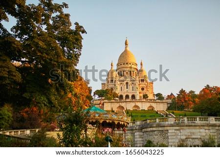 Famous basilica Sacre-Coeur on a fall day, Montmartre, Paris Photo stock ©