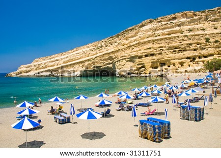 Famous Beach Matala, Greece Crete