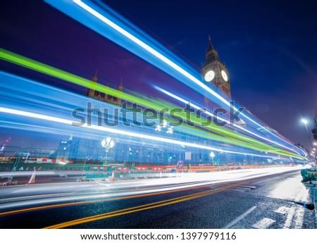 Famous Big Ben at night last night bus London capital of England