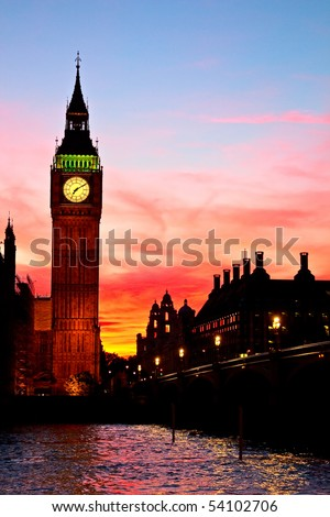 Famous Big Ben clock tower in London, UK.