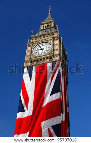 Famous Big Ben with flag of England in London