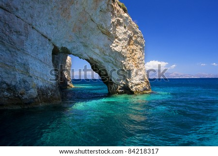 Famous blue caves view on Zakynthos island (Greece)