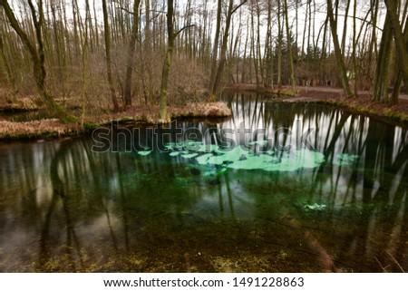 Famous blue springs (niebieskie zrodla) in Tomaszow Mazowiecki city - Poland Zdjęcia stock ©