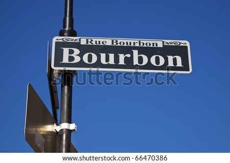 Famous Bourbon Street - historic district of New Orleans.